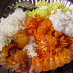 Plain rice, lemon rice, yogurt rice, tomato rice, spicy potatoes