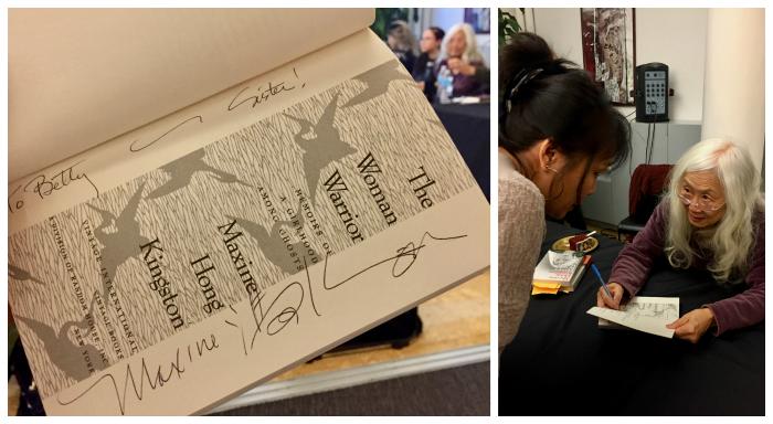 Maxine Hong Kingston signs book